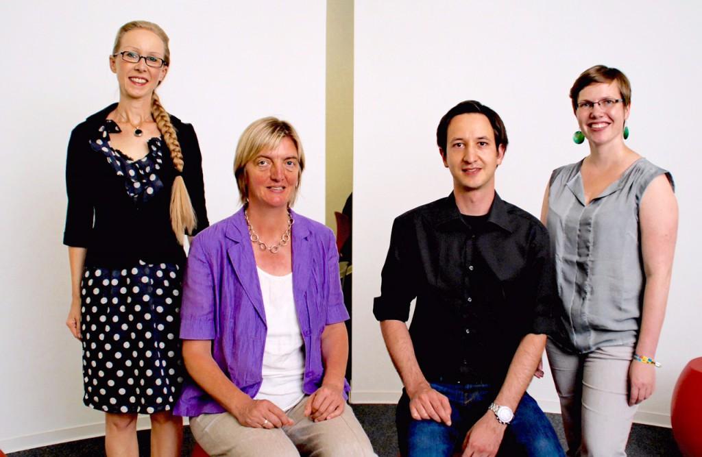Das Projektteam: Prof. Dr. Claudia Wiepcke, Prof. Dr. Marita Kampshoff, Manfred Mohr und Katrin Sorge (v. l.)